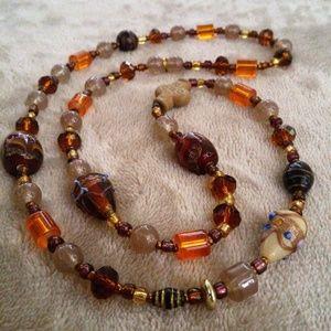 OOAK Handmade Bronze Beige Glass Beaded Necklace